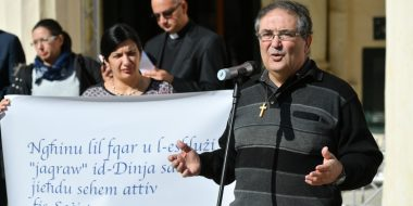 Fr Edgar Busuttil SJ, Director of the Paulo Freire Institute, and Dr Katrine Camilleri, Director of JRS Malta, during the event marking World Day of the Poor in Valletta, Malta. Photo: Curia Communications Office